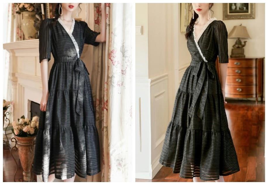 宫廷黑色V领连衣裙
